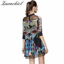 فستان شيفون قصير بنقوش هندسية مميزة مقاسات كبيرة