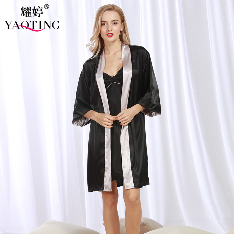 d682c4e8934 2017 New Pattern woman Spring and Summer Fine Artificial Silk Cardigan Robe  Pajamas twinset nightgown WP336-in Robe   Gown Sets from Underwear    Sleepwears ...