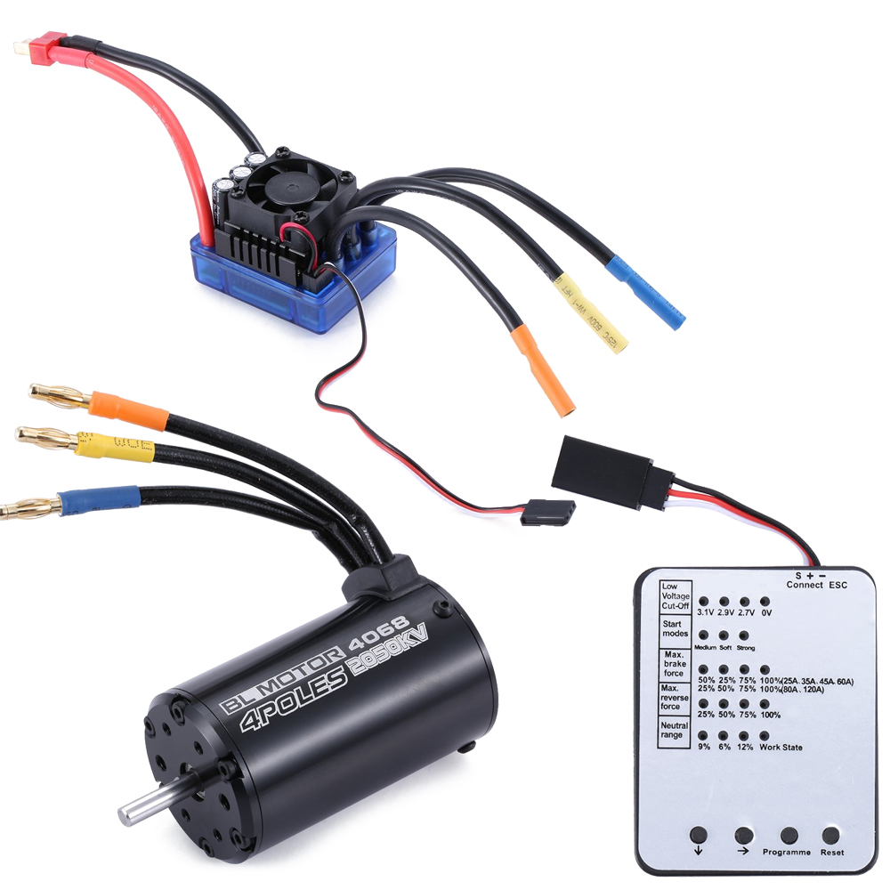 4068 2050KV 4-poles Sensorless Brushless Motor+120A ESC+LED Programming Card Combo Set for 18 RC Car Truck