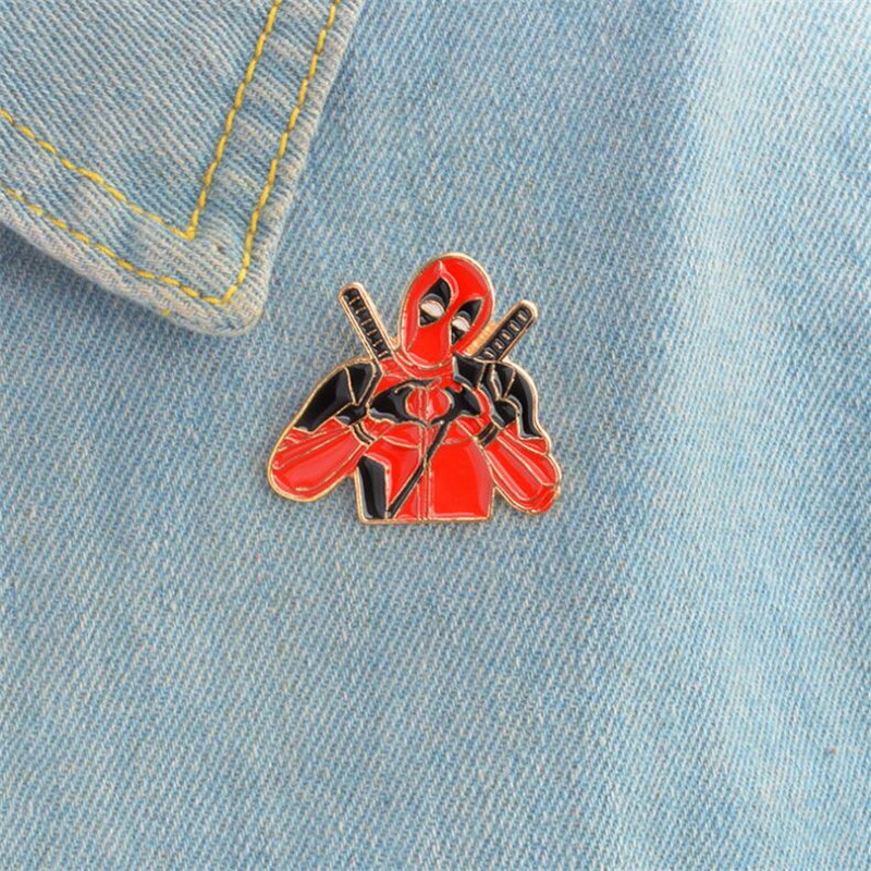 Marvel Movie Deadpool Brooch Wade Winston Wilson Cosplay Red New Mutants Personalized Fashion Accessories Funny Alloy Badge Gift
