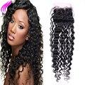 4X4 Lace Closure Peruvian Virgin Hair With Closure Peruvian Deep Wave Closure 1 Bundle By DHL Deep Curly 8A Human Hair Closure
