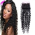 4x4 lace closure cabelo virgem peruano com fecho de onda profunda peruano fechamento 1 pacote by dhl encaracolado profundo fechamento cabelo humano 8a