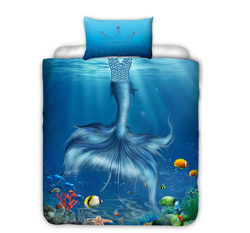 Mermaid Bedding Sets For Kids Girls Boys 2pcs Crown Single Bed Duvet Cover Set Bedclothes Bed Linen (No Sheet No Filling)
