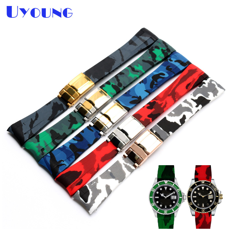 Quality Silicone Watchband 20MM For Mens camouflage strap Replacement Silicone Watch bands waterproof silicone bracelet watch jansin 22mm watchband for garmin fenix 5 easy fit silicone replacement band sports silicone wristband for forerunner 935 gps