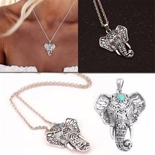 1pc Women Christmas Gift Ethnic Green Stone Elephant Choker Necklace Antique Necklaces Charm Vintage Pendants Chain(China)