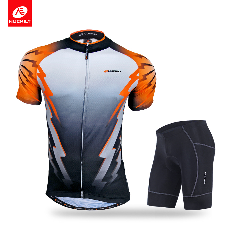 NUCKILY Men's Bicycle Suit Summer Cycling Jersey Set Gel Pad Lycra Shorts With Polyester Bike Jersey NJ500NS361-in Cycling Sets from Sports & Entertainment    1