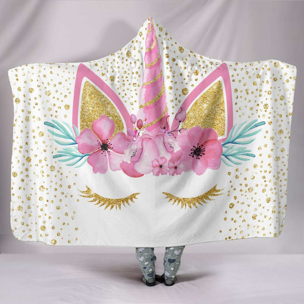GOLD UNICORN FLORAL WREATH 3D PRINTED HOODED BLANKET SHOP FOR SALE