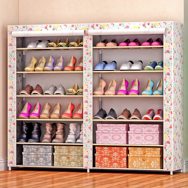 High-capacity double-row 12-cell shoe thick stainless steel non-woven shoe rack can be freely assembled home furniture 4 layers of simple dust proof moisture proof shoe rack thick non woven stainless steel shoe free assembly of home furniture