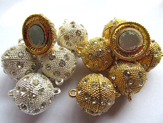 En gros ton Rhinetone cristal magique fermoir connecteurs fermoirs magnétiques boule ronde gunmetal argent rose or bijoux fermoir 50 pcs - 2