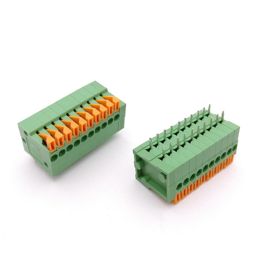 цена на 50PCS 2.54mm Pitch Spring Terminal Blocks Connector 2/3/4/5/10-20P KF141R Straight Pin Green Environmental Protection 150V/2A