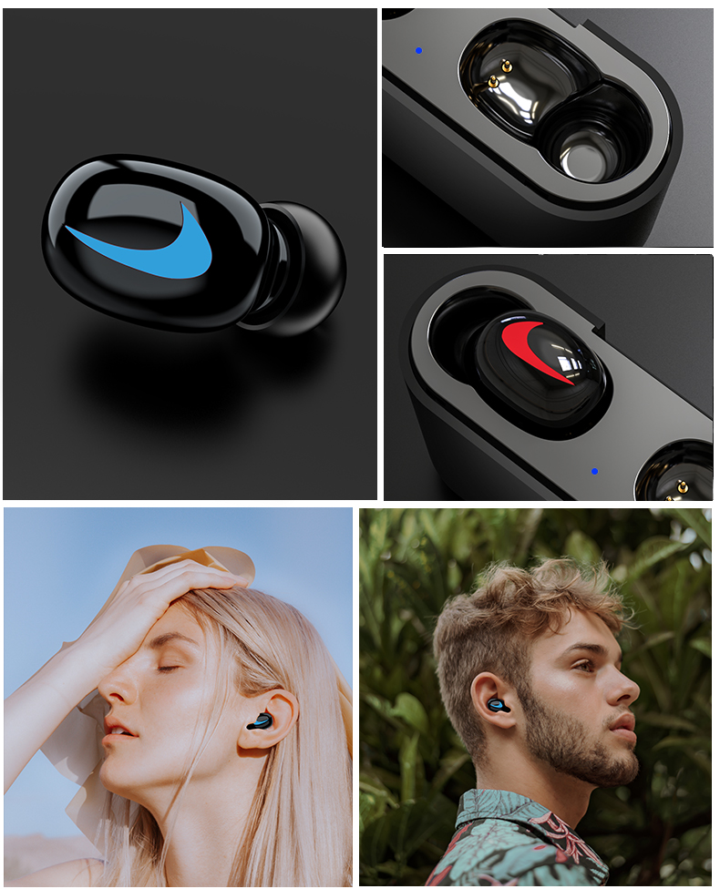 HBQ Wireless Bluetooth Earphones 5.0 With Mic For Hands free Call Charging Box 12