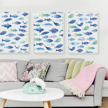 Nordic Minimalist Style Blue And Green Little Fish A4 Canvas Painting Poster Prints Hanging Home Decoration Bedroom