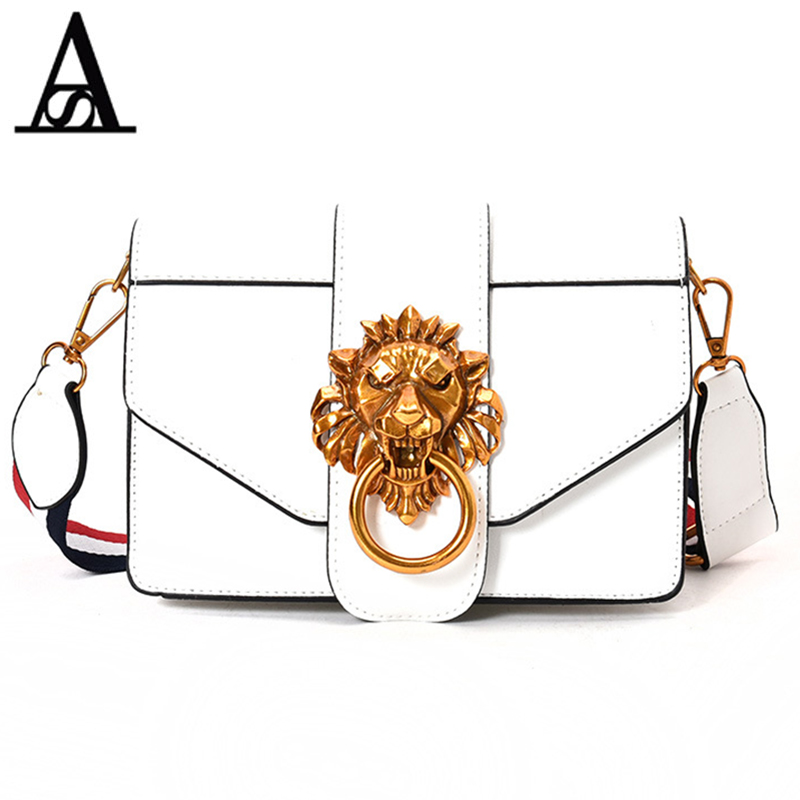 AITESEN Metal Lion Head Michael Small Square Pack Shoulder Bag Oblique Cross Package Clutch Women Designer Handbags Bolsos Mujer