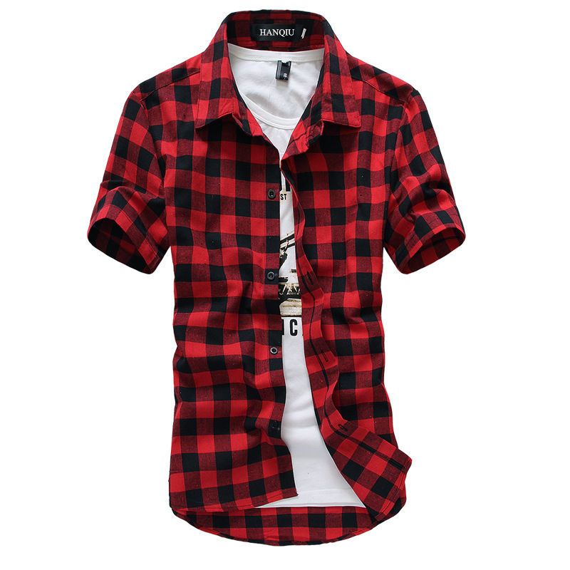 Plaid Shirt Blouse Checkered-Shirts Chemise Short-Sleeve Black Fashion Mens Summer New
