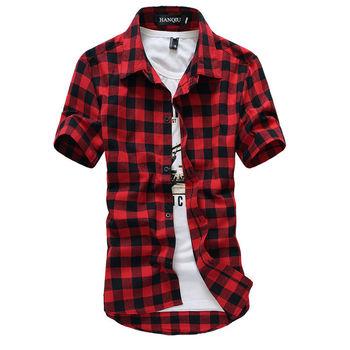 Czerwona i czarna koszula w kratę męskie koszule 2020 nowa letnia moda koszulka Homme męskie kraciaste koszule koszulka z krótkim rękawkiem męska bluzka tanie i dobre opinie HANQIU Poliester COTTON Skręcić w dół kołnierz Pojedyncze piersi REGULAR mens shirts Suknem Na co dzień Plaid Summer Autumn Spring