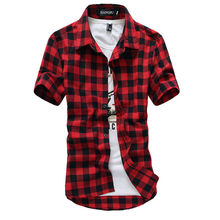 Red And Black Plaid Shirt Men Shirts 2019 New Summer Fashion 슈 미 Homme 망 체크무늬는 Shirts Short Sleeve Shirt Men blouse(China)