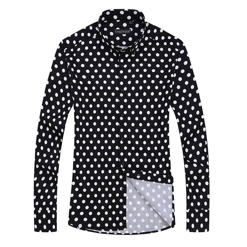 Polka Dot Men Casual Business Dress Shirt Brand Long Sleeve Males Slim Fit Styli