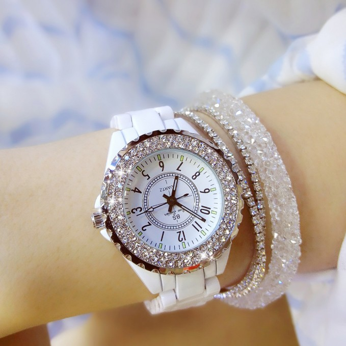все цены на Women Rhinestone Watches Lady Diamond Stone Dress Watch Black White Ceramic Big Dial Bracelet Wristwatch ladies Crystal Watch