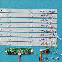 8pcs 615mm LED Backlight Lamps kit Aluminum Board w/ Optical Lens Fliter for 32inch TV Monitor+driver board+DC 12V Mini Tester
