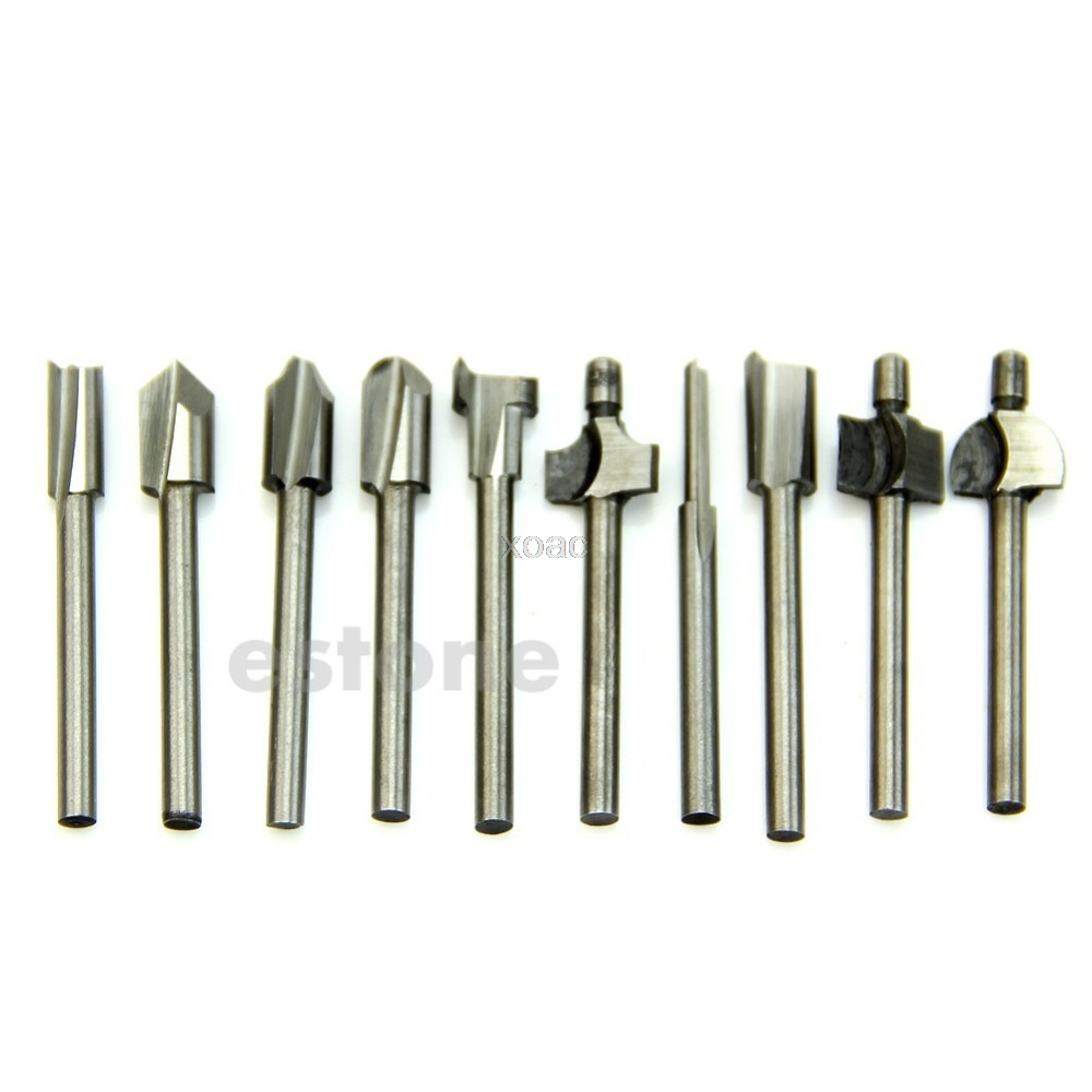 HSS Router Bits Wood Cutter Milling Fits Dremel Rotary Tool Set 10pcs 1/8 3mm  M07 dropship 4cm 1 57 carbide cnc hss router drill bits titanium nitride coated mini wood cutter milling fits dremel rotary tool set