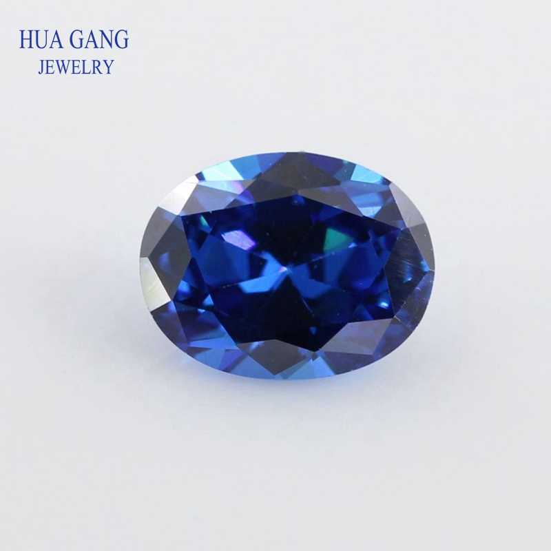 Royal Blue Oval Shape Cut 5A CZ Stone Synthetic Gems Cubic Zirconia For Jewelry Wholesale Size 2x3~13x18mm Free Shipping