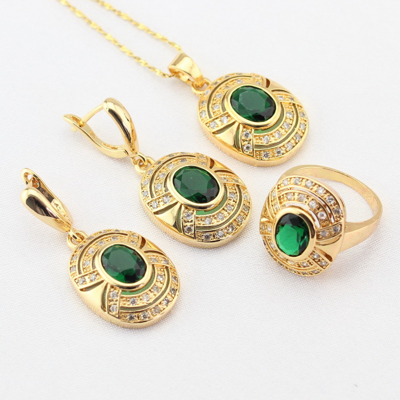 WPAITKYS Green Created Emerald White CZ Gold Color Jewelry Sets For Women Drop Earrings Necklace Pendant Rings Free Gift Box e037 women s fashionable rhinestone studded pendant earrings gold green pair