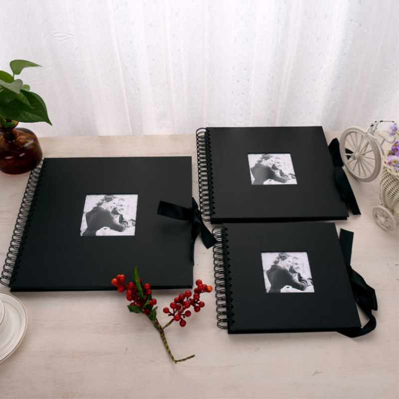Black Photo Album DIY Scrapbook Valentines Day Gifts Wedding Guest Book Craft Paper Anniversary Travel Memory Scrapbooking