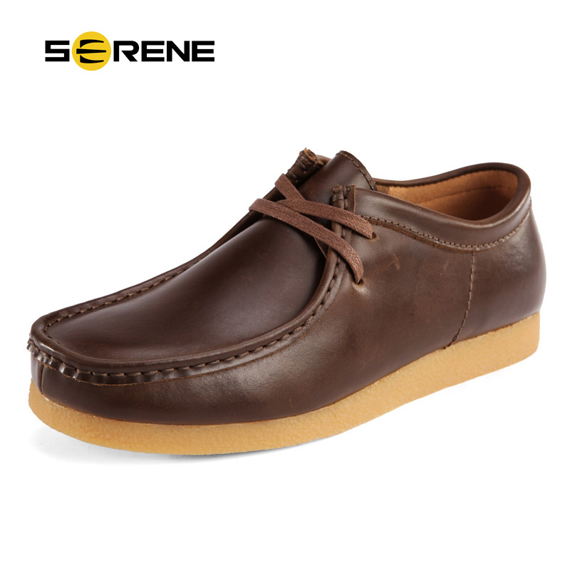 SERENE Brand New Arrival Men Casual Shoes British Cow Leather Shoes Autumn & Winter Men Shoes With Rubber Outsole Free Shipping 2017 new spring imported leather men s shoes white eather shoes breathable sneaker fashion men casual shoes