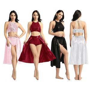 Image 2 - TiaoBug Adult Women Ballet Dress Sequin Halter Crop Top with Built In Leotard Skirt Set Stage Performance Lyrical Dance Costumes