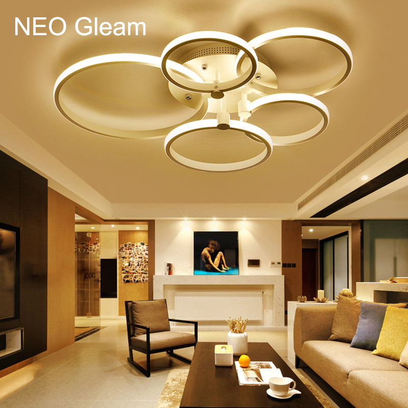 NEO GLeam New Aluminum Modern Led Ceiling Chandelier Lights For Living Room Bedroom Study Room AC85-265V Ceiling Chandelier neo gleam rectangle modern led ceiling lights for living room bedroom white or black aluminum 85 265v ceiling lamp free shipping