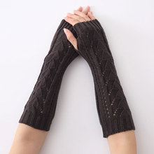 1Pair Women Winter Long Gloves Knitted Fingerless Gloves Half Hollow Arm Sleeves Guantes Mujer TH36
