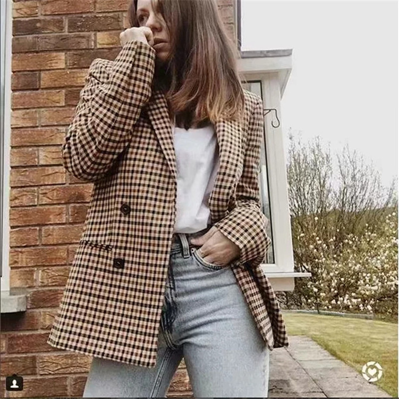 Europe And The United States Spring And Autumn Women's New Retro Temperament Long-sleeved Suit Collar Plaid Suit Jacket AL190523