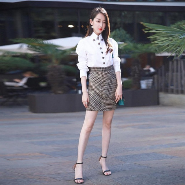 US $81 9 |Women's Suits 2018 Spring Summer Button Down Blouse White  Shirt+Pocket Patchwork Plaid Mini Skirt Sets Casual Girls Twinsets -in  Women's