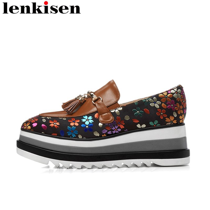 Lenkisen 2018 fashion round toe slip on embroidery genuine leather tassel platform causal shoes wedges runway women pumps L26