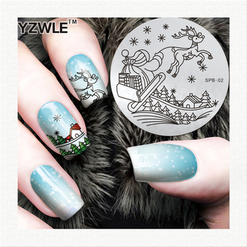 Christmas Nail Art Stamping Image Plates High Quality Stainless Steel Circular Plates DIY Stamping Template image