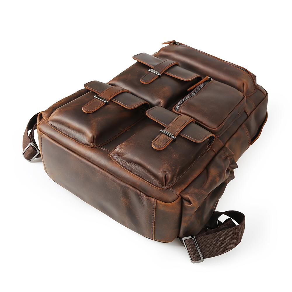 Фирменная винтажная мужская сумка для ноутбука пакет из натуральной коровьей кожи рюкзак для путешествий mochila - 4