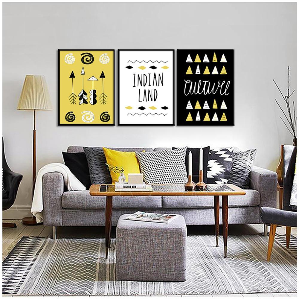 Nordic posters and print indian land wall art canvas - Wall pictures for living room india ...