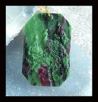 Hurtownie kamień, kamień Półszlachetny biżuteria, Natural Ruby Rzeźbione paw I Zoisite Wisiorek Koralik, 51x33x6mm, 25.6g
