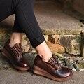 2016 оригинальный дизайн осень новый толстым дном склон круглый носок из натуральной кожи туфли на каблуках женщины насосы