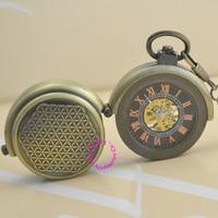 new wholesale price good quality vintage retro new antique bronze men train roman black dial mechanical pocket watch hour chain