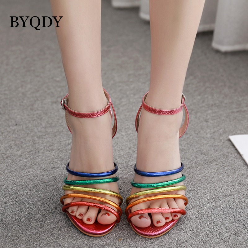 BYQDY Fashion High Heels Sandals Buckle Open Toed Party Women Shoes 2019 Summer Sparkly Shiny Rainbow Ladies Denim
