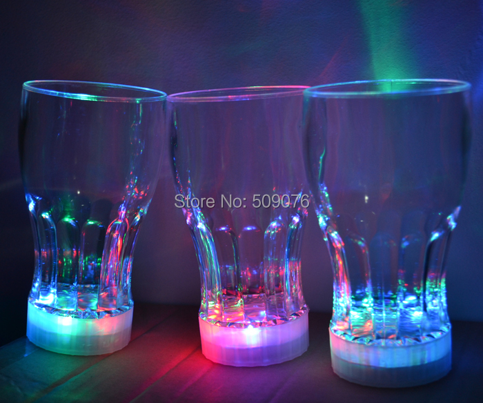 Free shipping 5pcs/lot 350ml/12oz flashing glass blinking cola cups LED Light Flashing Beer Mug Drink Cup For Bar Party Wedding ...