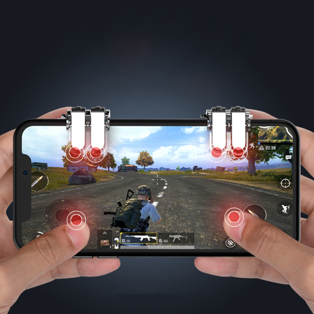 1pair Mobile Game Fire Button Aim Key Smart Phone Gaming Trigger L1 R1 Sharp Shooter Pubg Joystick Rule Of Survival Versi 3 50pair W6 New Concept Six Finger Linkage For