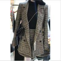 2018 houndstooth plaid winter autumn women's suit jacket female fashion two sets of elegant formal warm coat jacket skirt suit