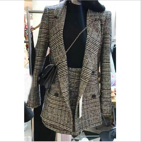 2018 houndstooth plaid winter autumn women's suit jacket female fashion two sets of elegant formal warm coat jacket skirt suit