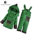 2 PCS Crianças Vestuário de Inverno Casaco Para As Meninas Meninos Macacão de Bebê Conjuntos de Roupas Calças de Pato Para Baixo Casaco Parkas Com Capuz Outerwear