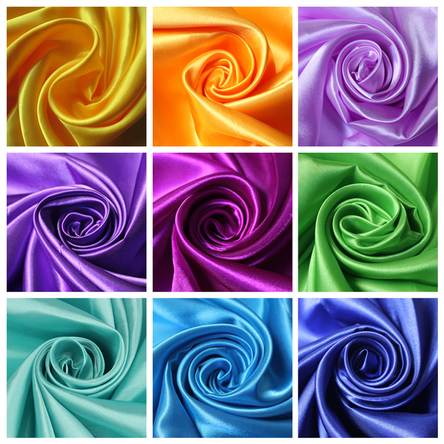 Length 1 Meter Width 1.45 Meter Cheap Chinese Polyester Satin Fabric For Wedding DIY, Blue Pink Red Gold Purple Color Tecido
