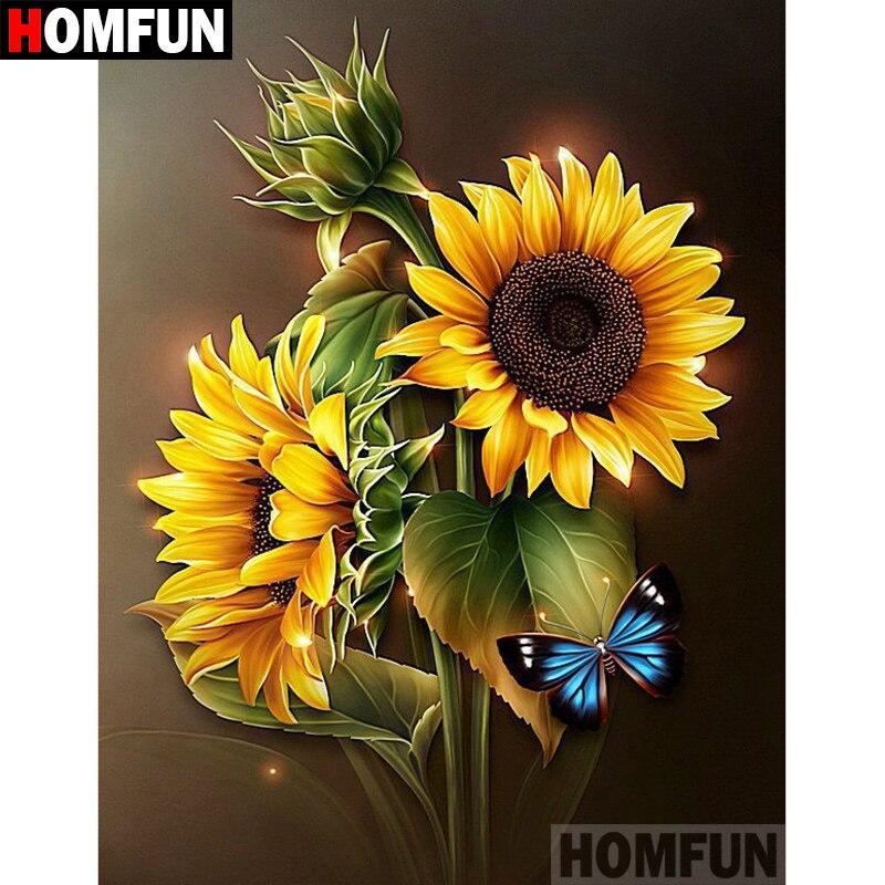 """HOMFUN 5D DIY алмазная живопись полная квадратная/круглая дрель """"цветок подсолнуха"""" вышивка крестиком подарок домашний Декор подарок A07844"""