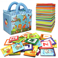 סדרת גן חיות צעצוע תינוק הגעה חדש 26 יחידות האלפבית רך כרטיסי תיק צעצועי הילדים עבור תינוק בד הכרה האלפבית זרוק חינם