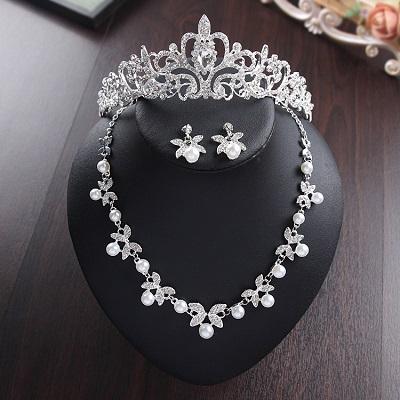 Bride Diaries New Design Crystal Pearl Bride 3pcs Set Necklace Earrings Tiara Bridal Wedding Jewelry Set Accessories (1)
